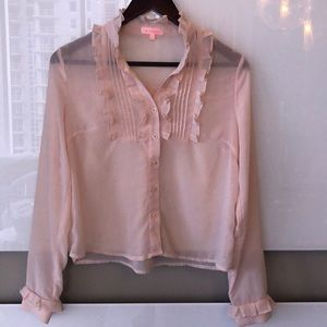 🎀 re:named Sheer Pink Button Down Blouse Small